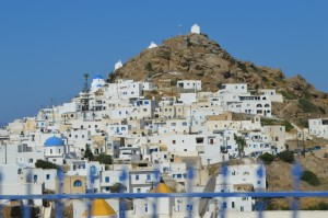 Panoramic side shot of the Old Town of Chora, Ios, Cyclades