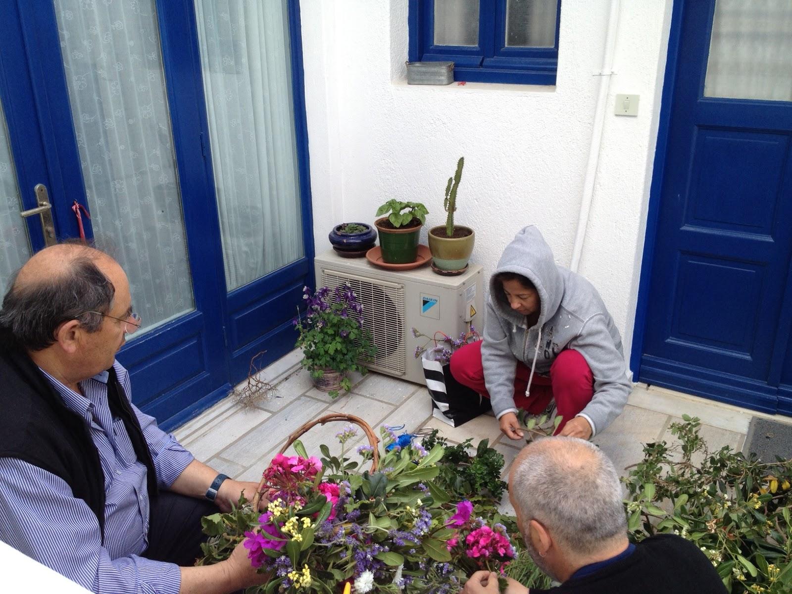 May Day wreath making in Mykonos