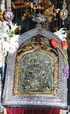 The miracle-working icon of the Panagia Evangelistria housed in the Cathedral in Tinos
