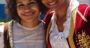 Annetta (left) and friend in traditional Greek Amalia costumes