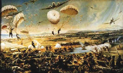 An artist's rendition of the falling of the German parachutists over Chania