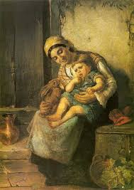 Nikolaos Vokos, Greek painter 1859-1902 - In the Mother's Lap