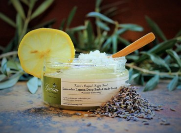 Lavender lemon drop scrub has the whiff of the Greek countryside with the twist of the cap