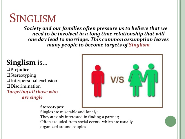 Singlism is the stigma, discrimination implicit or explicit against single people