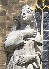 The statue of Theophano Skleraina outside of the Cathedral in Cologne where she is buried