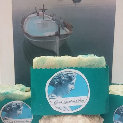 Our Aegean Sea soap conjures up crystal blue waters and white stone houses in the white and blue landscapes the sun-drenched Aegean is known for