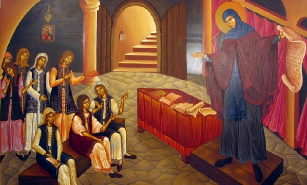 St Filothei teaching young women in the school she founded to make them independent and escape the Ottoman yoke