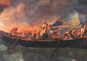 Bouboulina in the ships at the battle of Nafplion