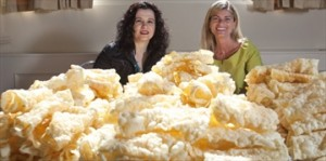 Evelyn and Iris Stylianou,  behind mountain of diples at Greek Food Festival of Kitchener