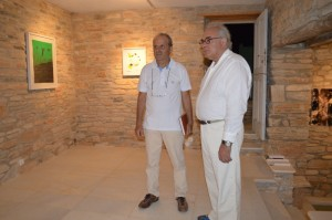 Panos Archolekas and Vangelis Plakiotis admiring the works of the atelier