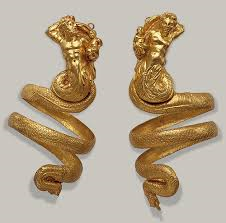 a pair of male and female nymphs snaking down the arm, example of the armband genre very popular during Hellenistic Age