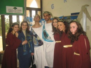Students from Birzeit University feeling very Greek after Evangelia's Greek classes