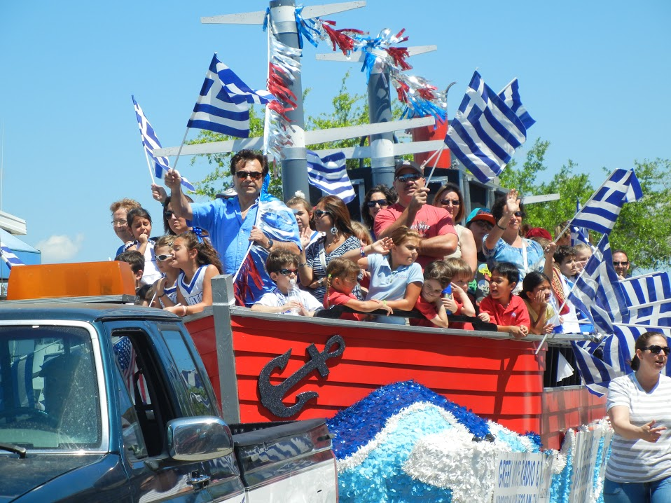 Students of Plato Academy take part in the annual Greek Independence Day parade in Tarpon Springs