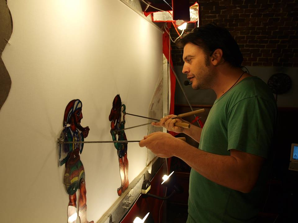 Dimitris Karoglou behind the set of a successful six-year run of Karagyozi puppet theater in Skias Onar theater in Thessaloniki