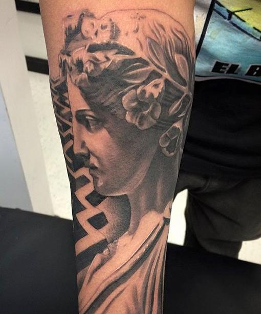 The Greek goddesses are as popular as the gods as tattoo subjects