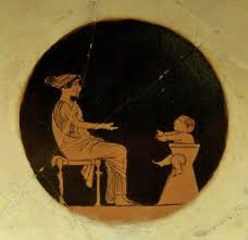 Ancient Greek baby, sitting in a ceramic high potty chair and calling for his mother