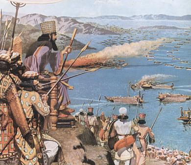 Xerxes witnessing the battle on his golden throne from his lavish tent on the headland of Salamis