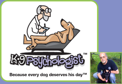 A logo from a canine psychologist. It's bad enough you don't have health insurance, but when your pooch gets the blues, you have a professional for him.