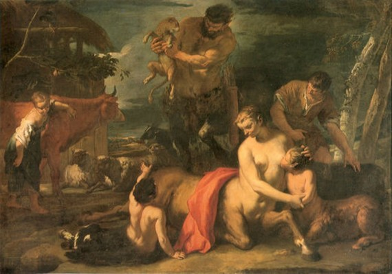 Female centaurs existed as witnessed in this painting where a mother Kentauride is suckling her baby