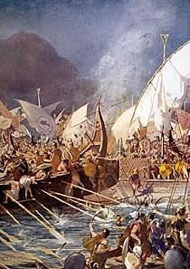 Artistic rendering of the Battle of Salamis
