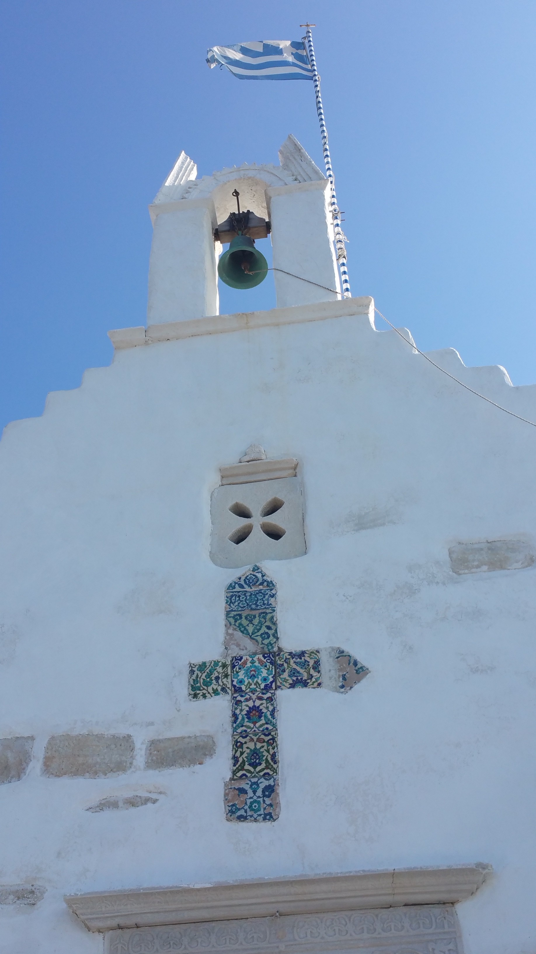 The steeple of St. Constantinos on the pier of Paros.