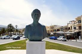 Commemorative bust of Kalliroi Siganou-Parren that stands in her memory near her home time outside of Rethymnion, Crete